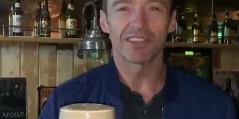 Hugh Jackman Enjoys Pint Of Gu...