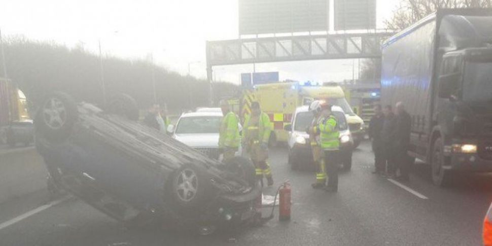 Car On Its Roof After M50 Collision