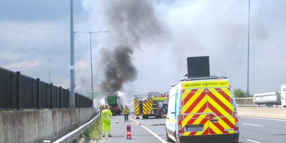 Bin Truck Fire Causes M50 Traf...