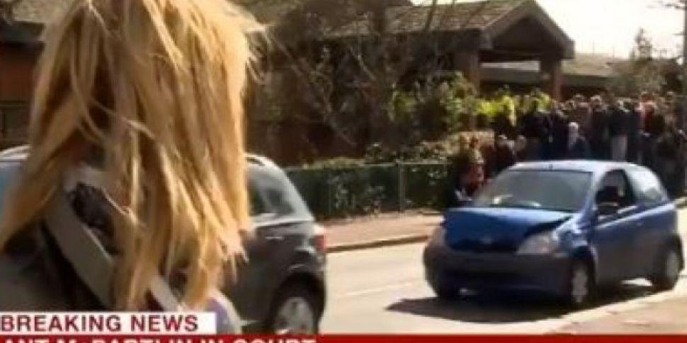 Car Crashes Live On News Outside Ant McPartlin Car Crash Court Hearing