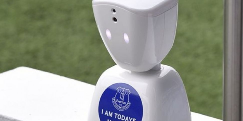 Everton use robot mascot to give young fan too ill to travel chance to lead the team out
