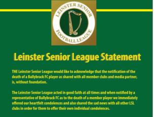 Praise be: Leinster Senior League confirm return of Ballybrack player from the dead