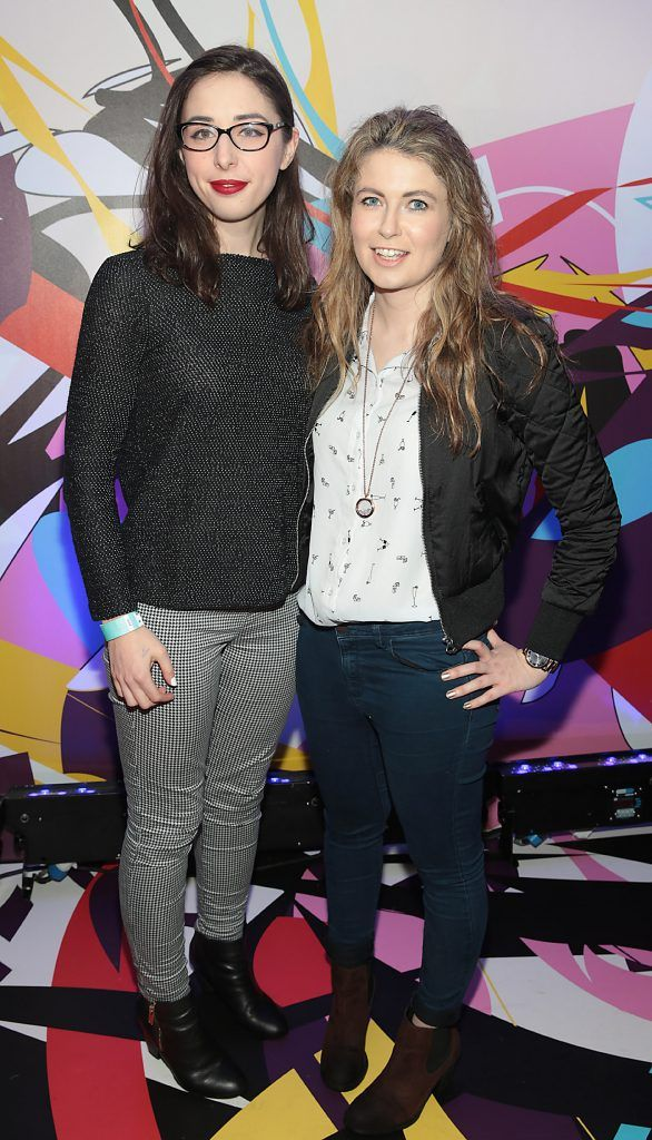 Catherine Kennedy and Hannah Popham pictured at the launch of Outcider, Ireland's newest cider with designs by street artist, James Earley (Picture by Brian McEvoy).