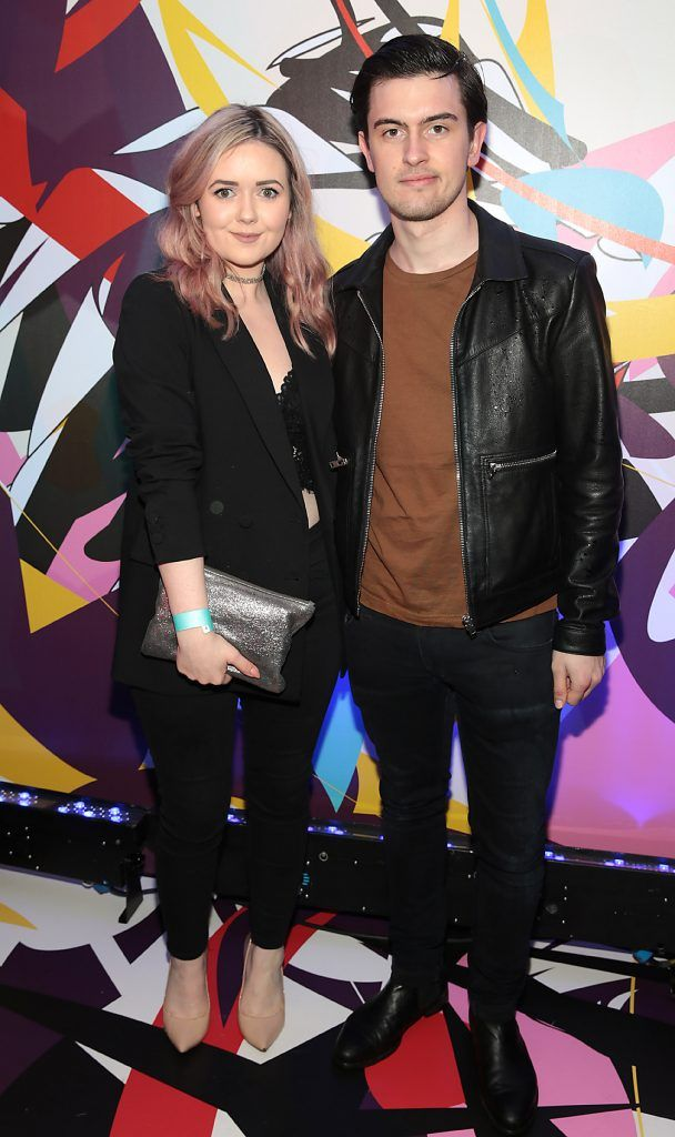 Niaomh Heylin and Ross Harris pictured at the launch of Outcider, Ireland's newest cider with designs by street artist, James Earley (Picture by Brian McEvoy).