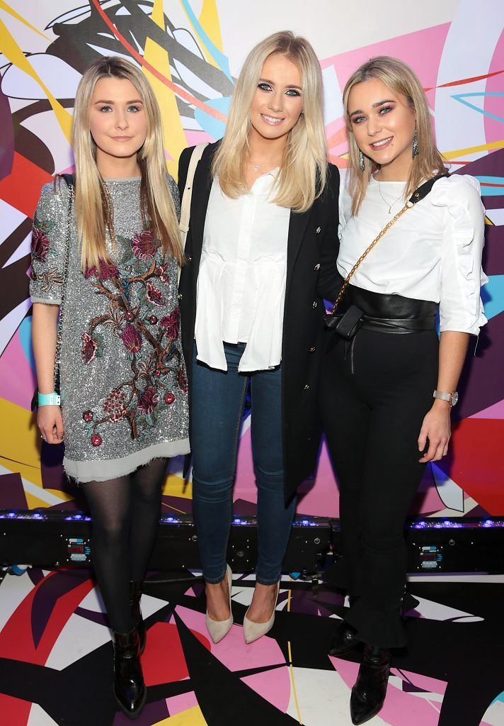 Elisha Langan, Sopie Gallagher and Lucy O Callaghan pictured at the launch of Outcider, Ireland's newest cider with designs by street artist, James Earley (Picture by Brian McEvoy).