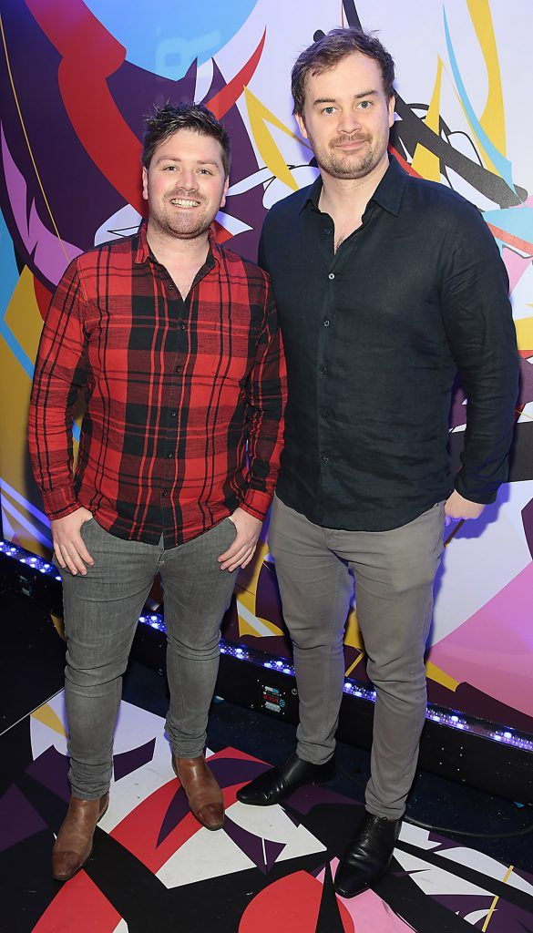 Thomas Crosse and Cormac Moore pictured at the launch of Outcider, Ireland's newest cider with designs by street artist, James Earley (Picture by Brian McEvoy).