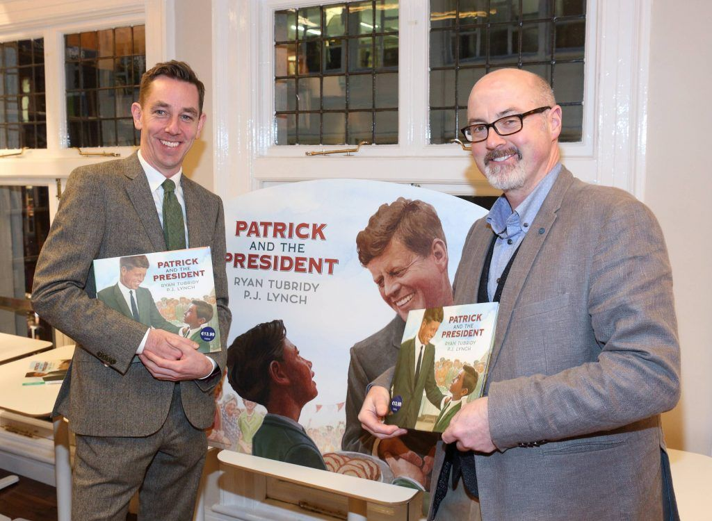 Ryan Tubridy and PJ Lynch at the launch of Ryan Tubridy's book 'Patrick and the President' Illustratred by PJ Lynch at Dubray Books in Grafton Street, Dublin (Picture by Brian McEvoy).