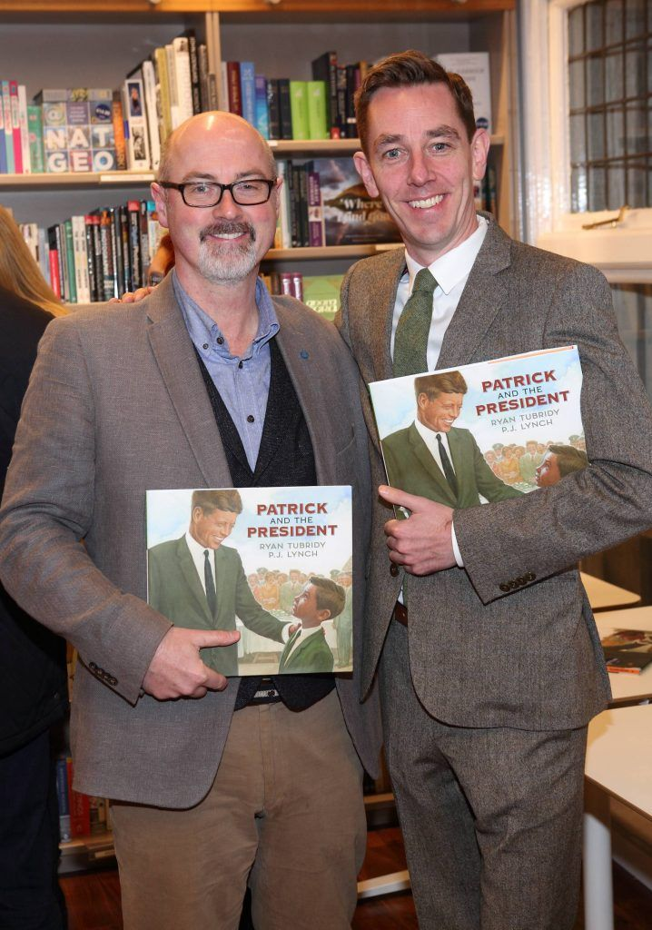 PJ Lynch and Ryan Tubridy at the launch of Ryan Tubridy's book 'Patrick and the President' Illustratred by PJ Lynch at Dubray Books in Grafton Street, Dublin (Picture by Brian McEvoy).