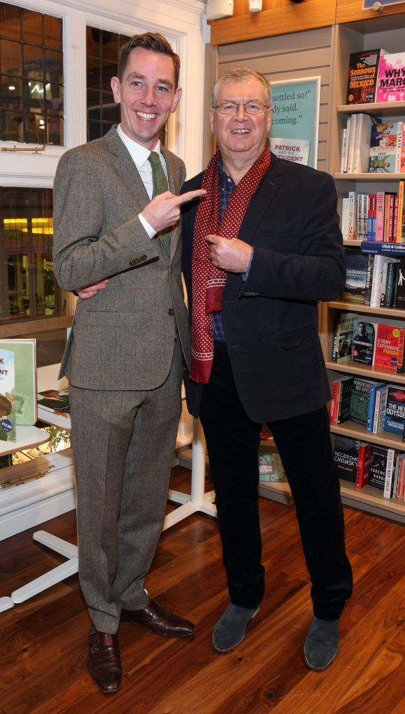 Ryan Tubridy and Joe Duffy at the launch of Ryan Tubridy's book 'Patrick and the President' Illustratred by PJ Lynch at Dubray Books in Grafton Street, Dublin (Picture by Brian McEvoy).