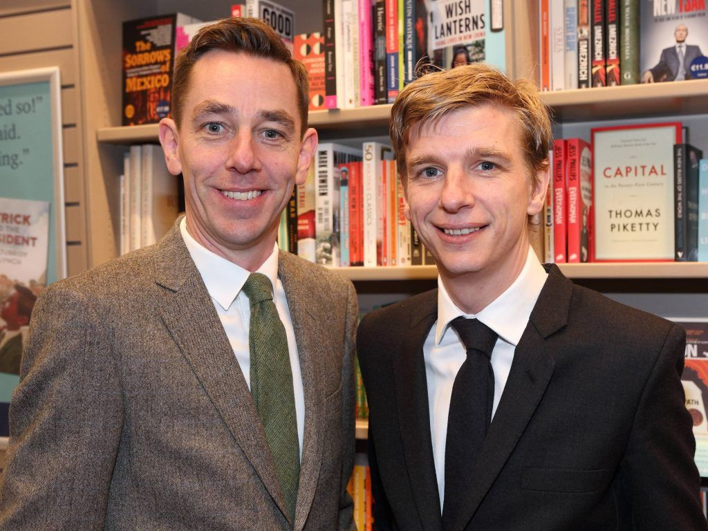 Ryan Tubridy and Garrett Tubridy at the launch of Ryan Tubridy's book 'Patrick and the President' Illustratred by PJ Lynch at Dubray Books in Grafton Street, Dublin (Picture by Brian McEvoy).