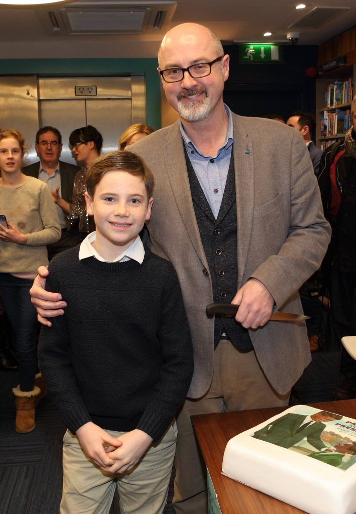 Patrick Kelly and PJ Lynch at the launch of Ryan Tubridy's book 'Patrick and the President' Illustratred by PJ Lynch at Dubray Books in Grafton Street, Dublin (Picture by Brian McEvoy).