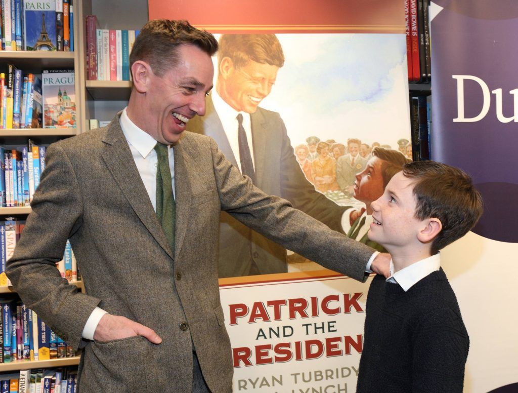 Ryan Tubridy and Patrick Kelly at the launch of Ryan Tubridy's book 'Patrick and the President' Illustratred by PJ Lynch at Dubray Books in Grafton Street, Dublin (Picture by Brian McEvoy).