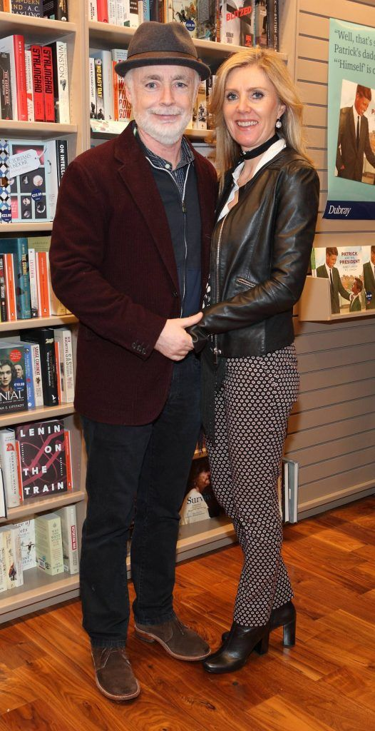 Eoin Colfer and Jackie Colfer at the launch of Ryan Tubridy's book 'Patrick and the President' Illustratred by PJ Lynch at Dubray Books in Grafton Street, Dublin (Picture by Brian McEvoy).