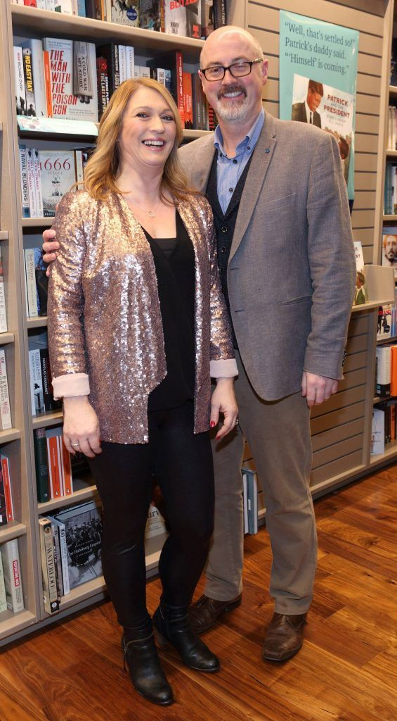 Barbara Hughes and PJ Lynch at the launch of Ryan Tubridy's book 'Patrick and the President' Illustratred by PJ Lynch at Dubray Books in Grafton Street, Dublin (Picture by Brian McEvoy).