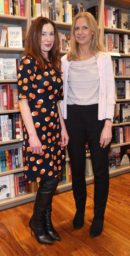 Janet Hickey and Judith Tubridy at the launch of Ryan Tubridy's book 'Patrick and the President' Illustratred by PJ Lynch at Dubray Books in Grafton Street, Dublin (Picture by Brian McEvoy).