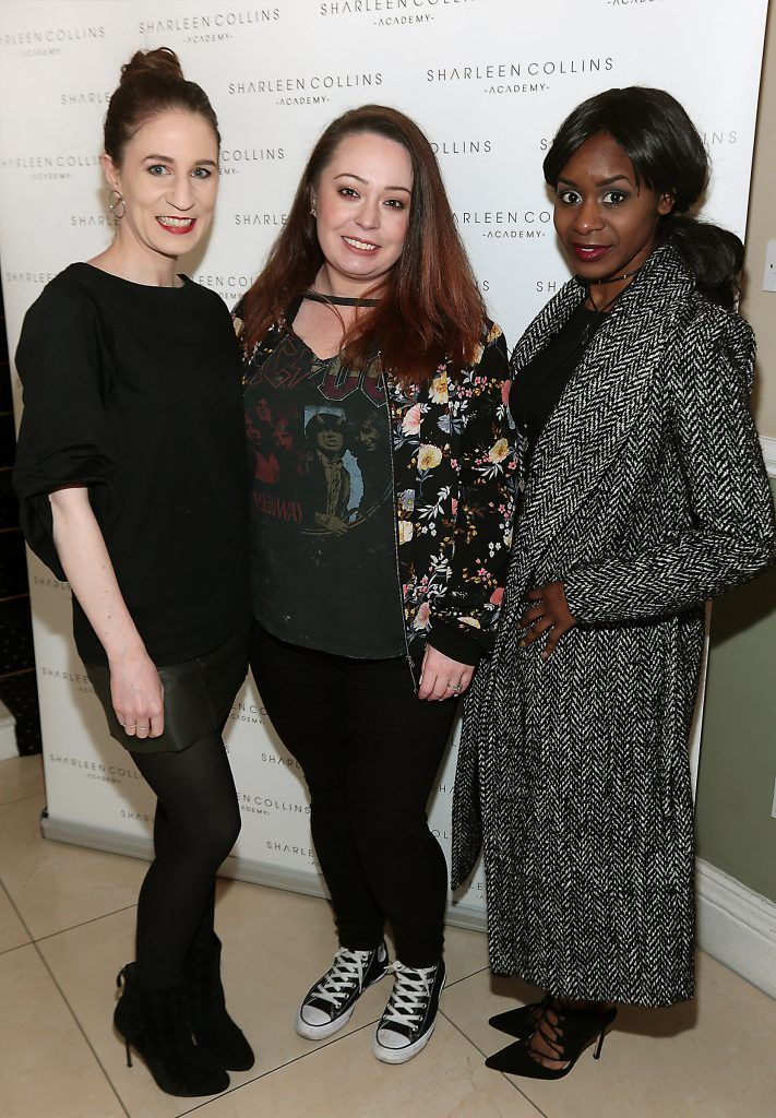 Miriam Burke, Gemma Burke and Filomena Kaguaro pictured at the launch of Sharleen Collins Make-Up Academy in Leeson Street, Dublin (Picture: Brian McEvoy).