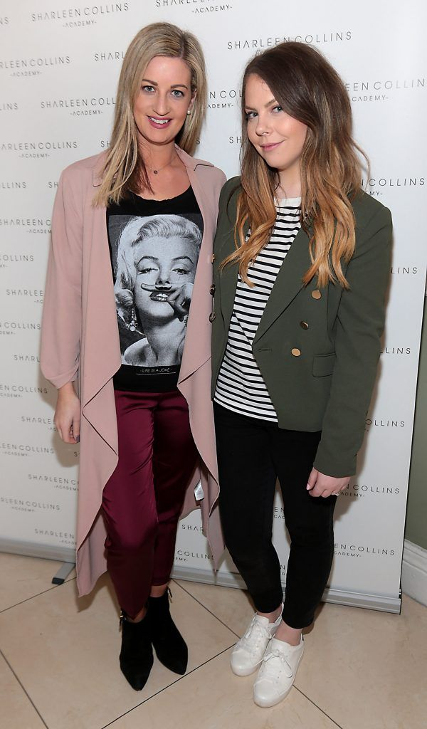 Lisa Cotter and Kellie Masterson pictured at the launch of Sharleen Collins Make-Up Academy in Leeson Street, Dublin (Picture: Brian McEvoy).