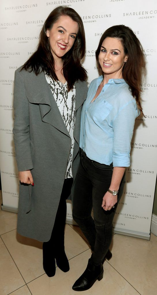 Jess Glynn and Rachel McCahey pictured at the launch of Sharleen Collins Make-Up Academy in Leeson Street, Dublin (Picture: Brian McEvoy).