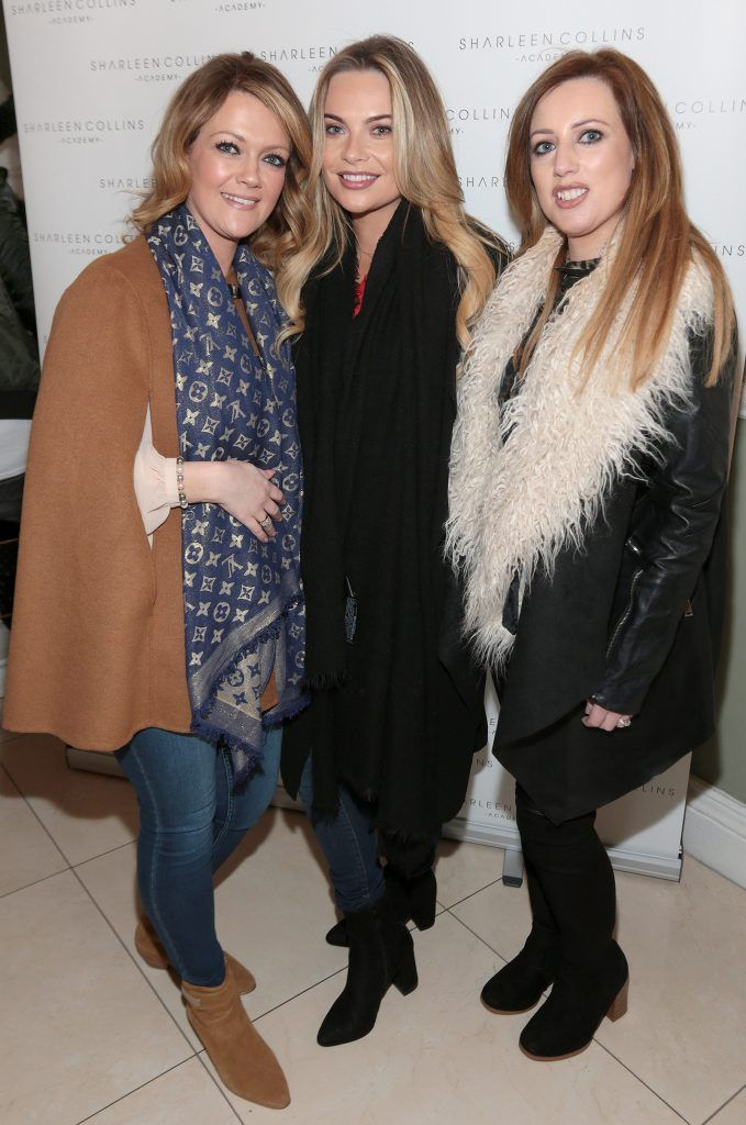 Niamh Jordan, Mandy Daly and Una McCarthy pictured at the launch of Sharleen Collins Make-Up Academy in Leeson Street, Dublin (Picture: Brian McEvoy).