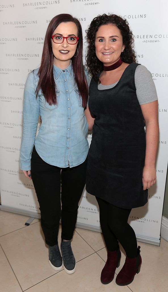 Eimear Sheehan and Anita Coote pictured at the launch of Sharleen Collins Make-Up Academy in Leeson Street, Dublin (Picture: Brian McEvoy).