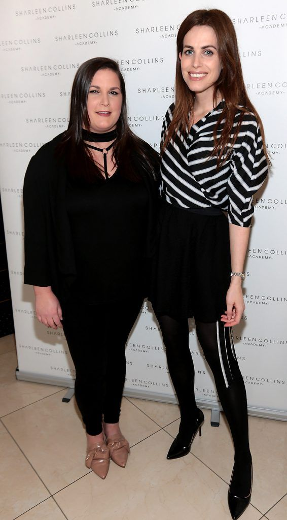 Serena Broll and Holly White pictured at the launch of Sharleen Collins Make-Up Academy in Leeson Street, Dublin (Picture: Brian McEvoy).