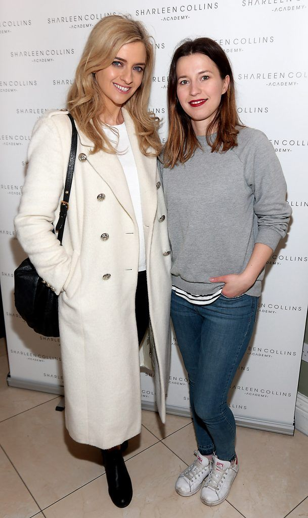 Becky Johnson and Alex Quinn pictured at the launch of Sharleen Collins Make-Up Academy in Leeson Street, Dublin (Picture: Brian McEvoy).