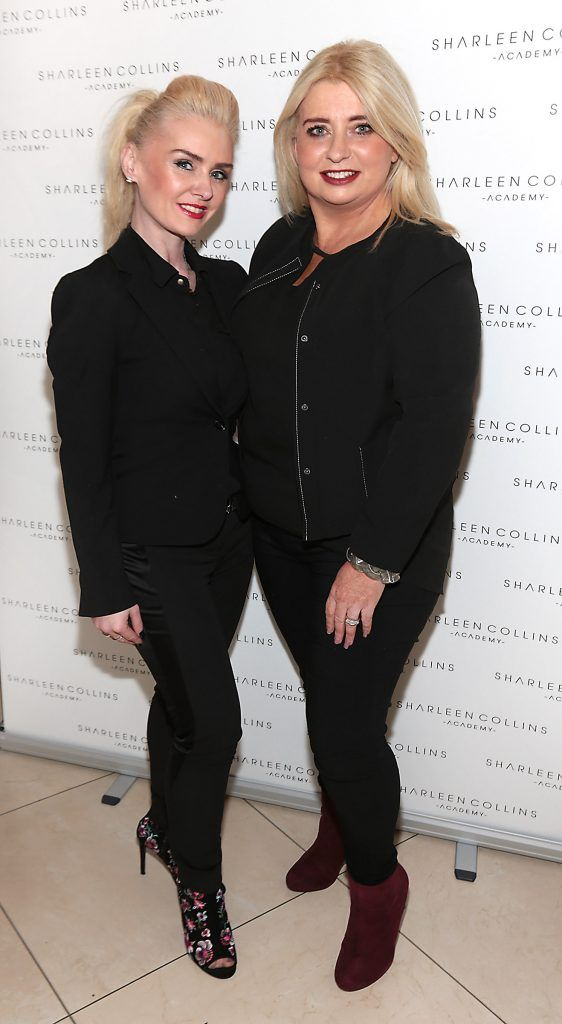 Aisling Holly and Sharon Hennessey pictured at the launch of Sharleen Collins Make-Up Academy in Leeson Street, Dublin (Picture: Brian McEvoy).