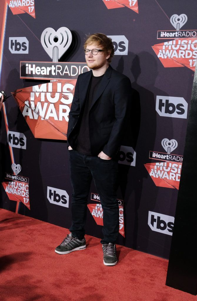 Musician Ed Sheeran attends the 2017 iHeartRadio Music Awards which broadcast live on Turner's TBS, TNT, and truTV at The Forum on March 5, 2017 in Inglewood, California.  (Photo by Alberto E. Rodriguez/Getty Images)