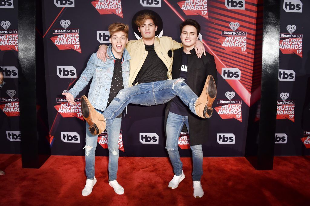 (L-R) Musicians Liam Attridge, Ricky Garcia and Emery Kelly of music group Forever in Your Mind attend the 2017 iHeartRadio Music Awards which broadcast live on Turner's TBS, TNT, and truTV at The Forum on March 5, 2017 in Inglewood, California.  (Photo by Alberto E. Rodriguez/Getty Images)