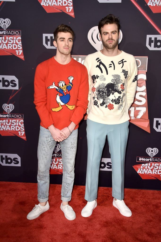 Recording artists Andrew Taggart (L) and Alex Pall of music group The Chainsmokers attend the 2017 iHeartRadio Music Awards which broadcast live on Turner's TBS, TNT, and truTV at The Forum on March 5, 2017 in Inglewood, California.  (Photo by Alberto E. Rodriguez/Getty Images)