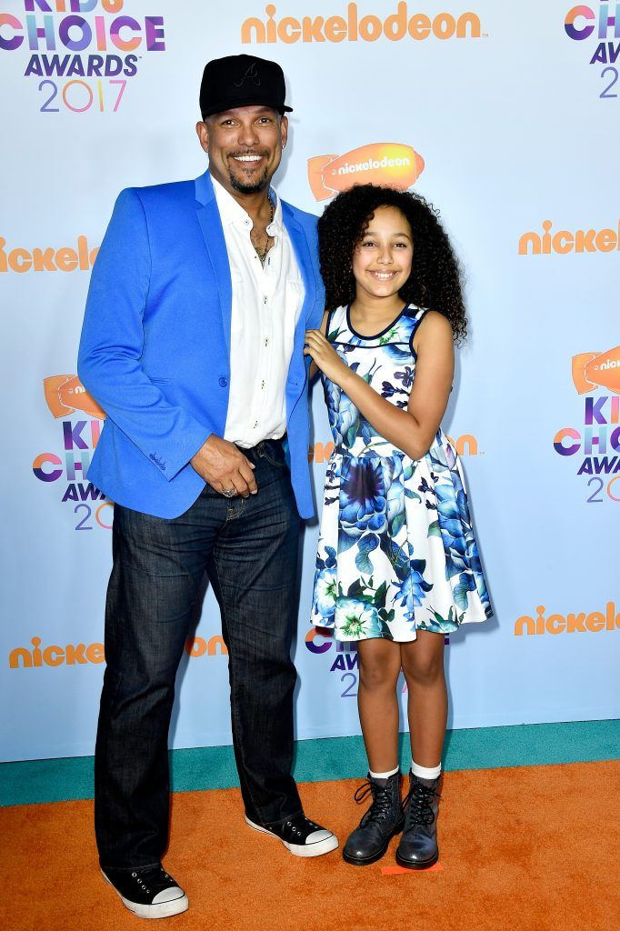 Former MLB player David Justice (L) and actor Raquel Justice at Nickelodeon's 2017 Kids' Choice Awards at USC Galen Center on March 11, 2017 in Los Angeles, California.  (Photo by Frazer Harrison/Getty Images)