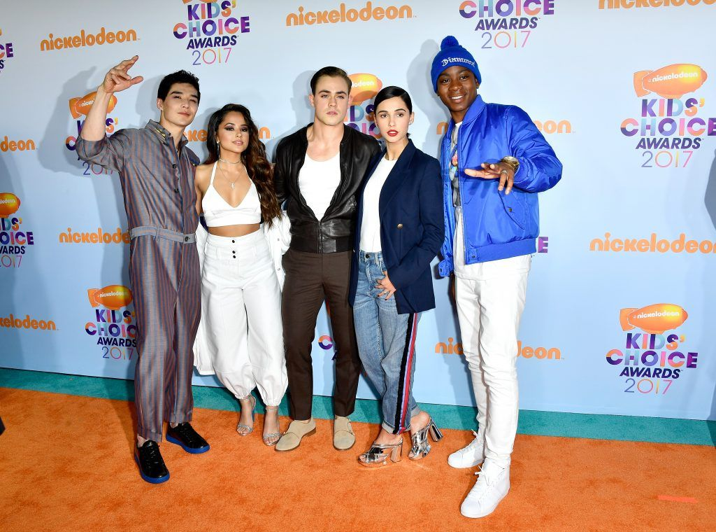 (L-R) Actors Ludi Lin, Becky G, Dacre Montgomery, Naomi Scott, and RJ Cyler at Nickelodeon's 2017 Kids' Choice Awards at USC Galen Center on March 11, 2017 in Los Angeles, California.  (Photo by Frazer Harrison/Getty Images)