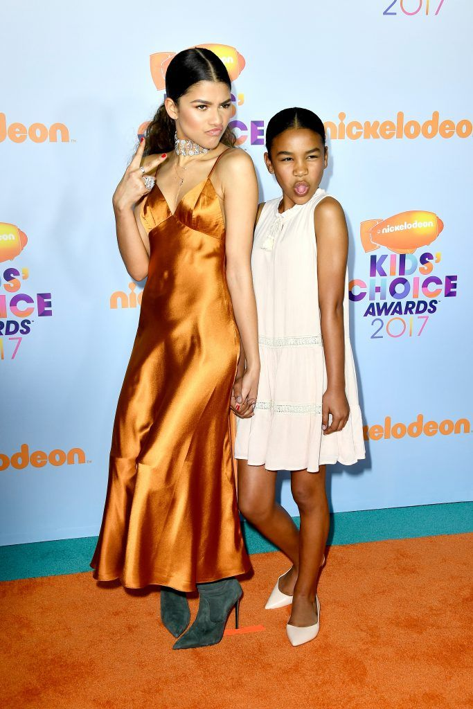 Actor Zendaya (L) and guest at Nickelodeon's 2017 Kids' Choice Awards at USC Galen Center on March 11, 2017 in Los Angeles, California.  (Photo by Frazer Harrison/Getty Images)