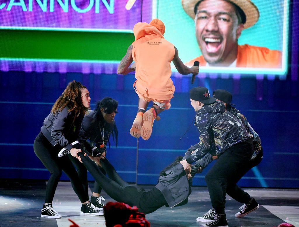 Actor Nick Cannon performs onstage at Nickelodeon's 2017 Kids' Choice Awards at USC Galen Center on March 11, 2017 in Los Angeles, California.  (Photo by Kevin Winter/Getty Images)