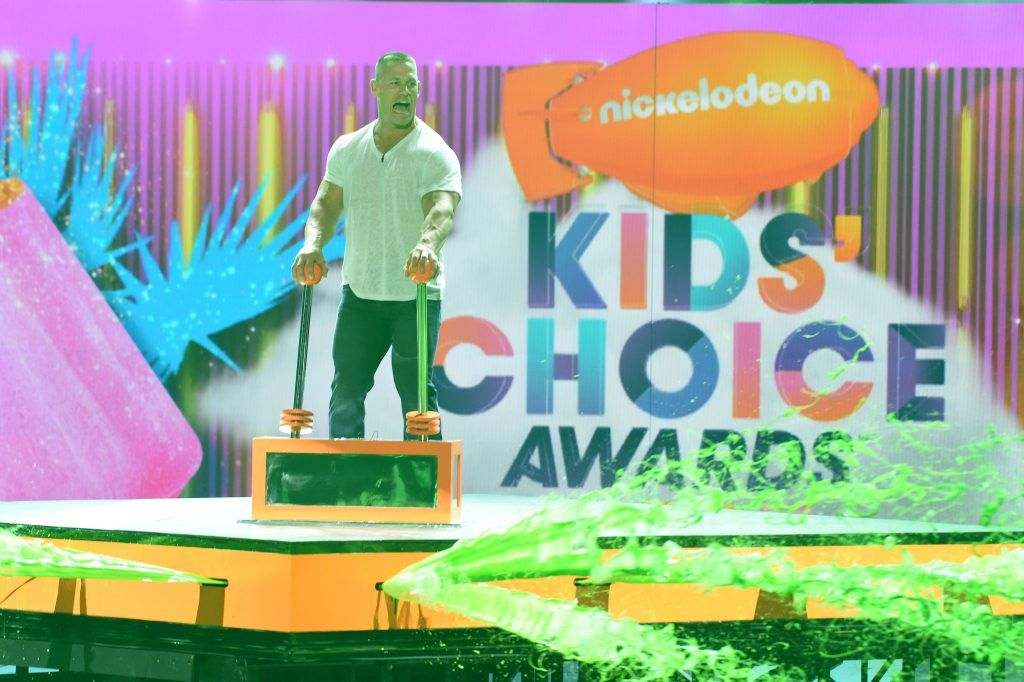 Host John Cena gets slimed onstage at Nickelodeon's 2017 Kids' Choice Awards at USC Galen Center on March 11, 2017, in Los Angeles, California. (Photo VALERIE MACON/AFP/Getty Images)
