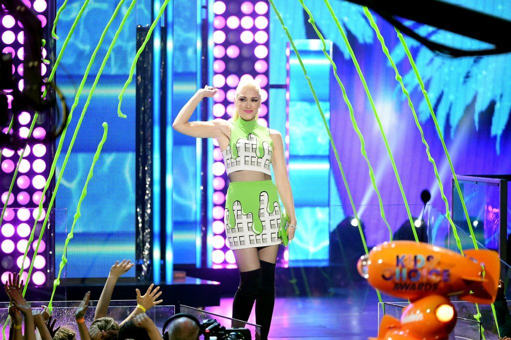 Singer-songwriter Gwen Stefani speaks onstage at Nickelodeon's 2017 Kids' Choice Awards at USC Galen Center on March 11, 2017 in Los Angeles, California.  (Photo by Kevin Winter/Getty Images)