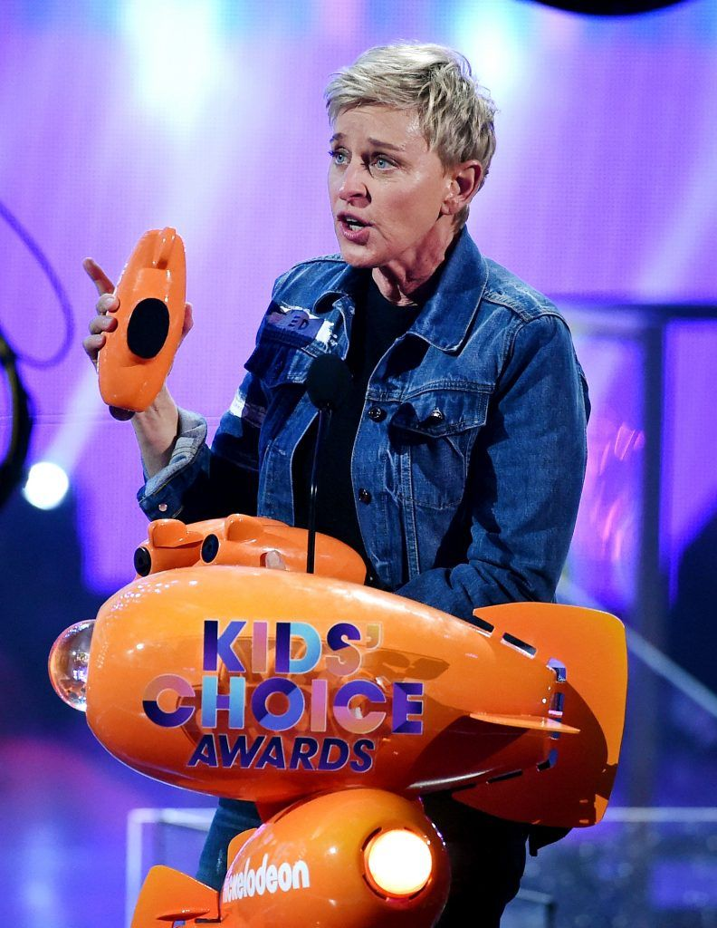 Actor Ellen DeGeneres accepts the awards for Favorite Animated Movie for 'Finding Dory' onstage at Nickelodeon's 2017 Kids' Choice Awards at USC Galen Center on March 11, 2017 in Los Angeles, California.  (Photo by Kevin Winter/Getty Images)