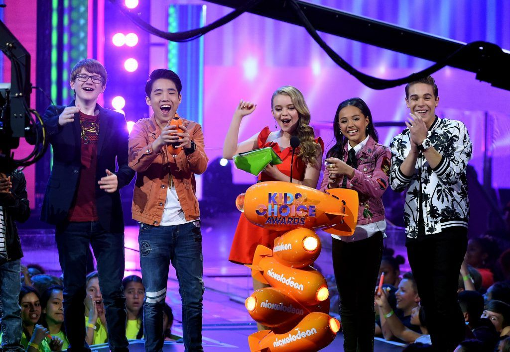 The cast of School of Rock speak onstage at Nickelodeon's 2017 Kids' Choice Awards at USC Galen Center on March 11, 2017 in Los Angeles, California.  (Photo by Kevin Winter/Getty Images)