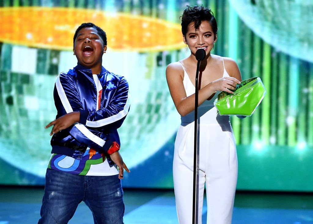 Actors Benjamin Flores Jr. (L) and Isabela Moner speak onstage at Nickelodeon's 2017 Kids' Choice Awards at USC Galen Center on March 11, 2017 in Los Angeles, California.  (Photo by Kevin Winter/Getty Images)