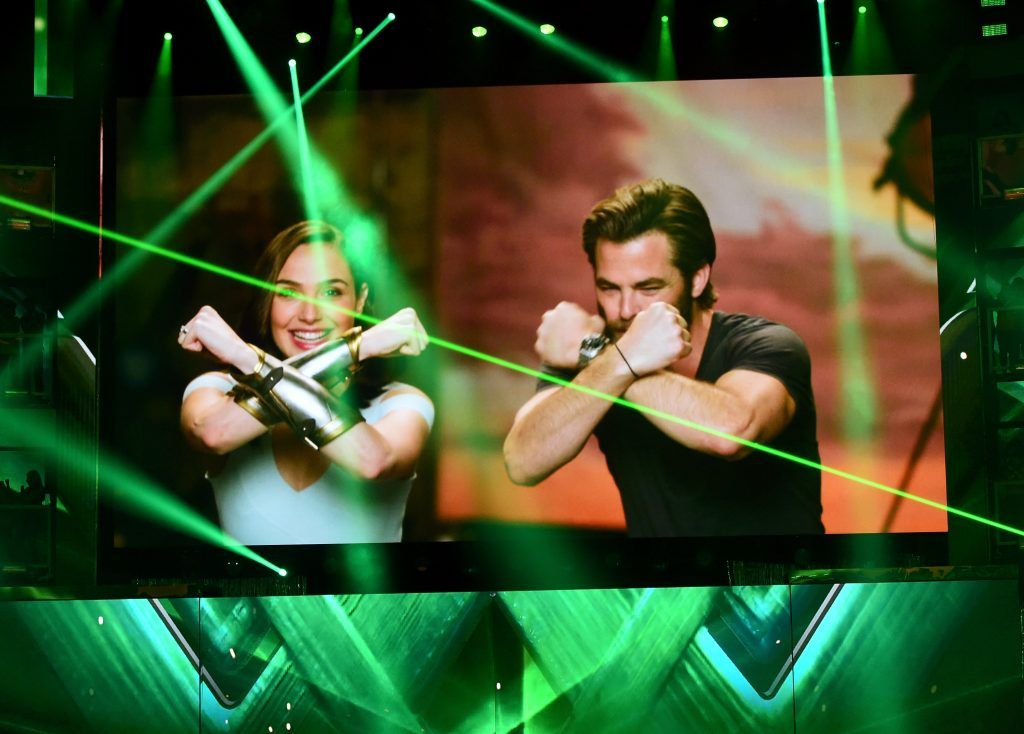 Actors Gal Gadot (L) and Chris Pine speak via satellite at Nickelodeon's 2017 Kids' Choice Awards at USC Galen Center on March 11, 2017 in Los Angeles, California.  (Photo by Kevin Winter/Getty Images)