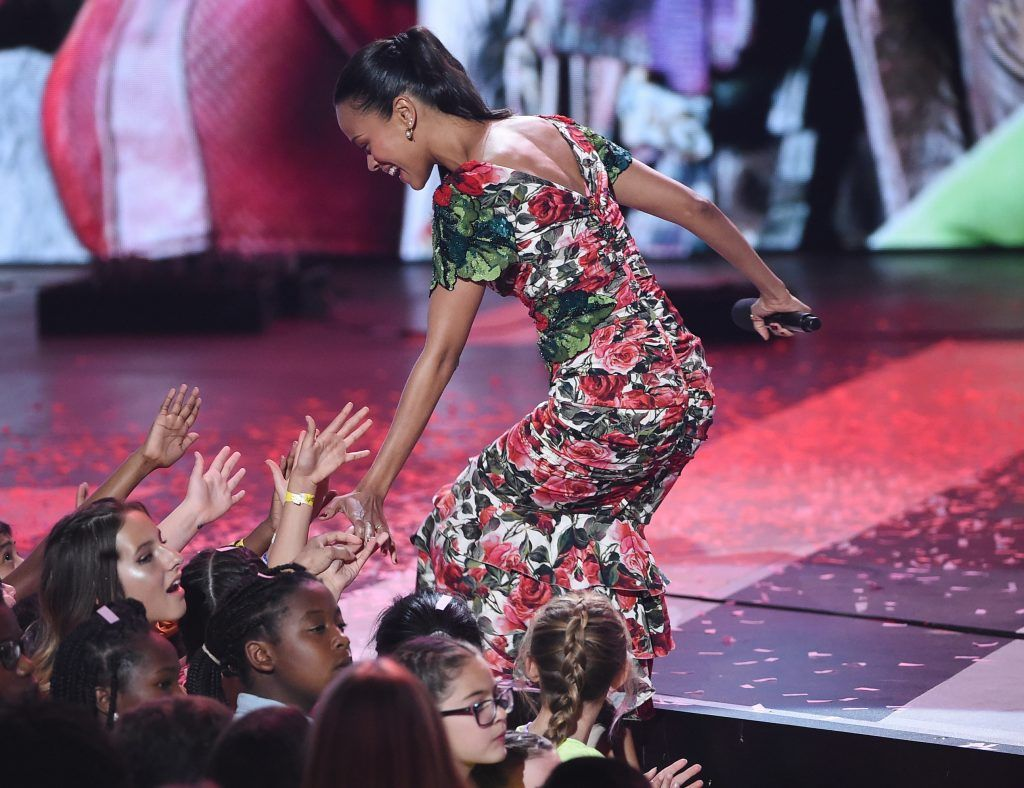 Actor Zoe Saldana appears onstage at Nickelodeon's 2017 Kids' Choice Awards at USC Galen Center on March 11, 2017 in Los Angeles, California.  (Photo by Kevin Winter/Getty Images)