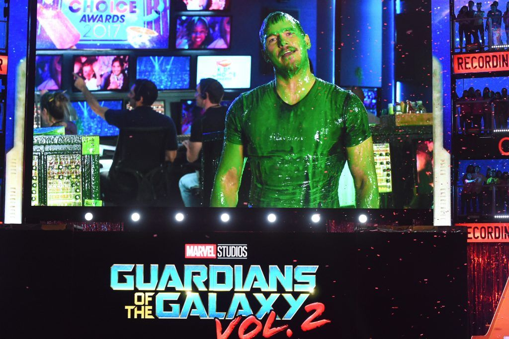 Actor Chris Pratt gets slimed via satellite at Nickelodeon's 2017 Kids' Choice Awards at USC Galen Center on March 11, 2017 in Los Angeles, California.  (Photo by Kevin Winter/Getty Images)