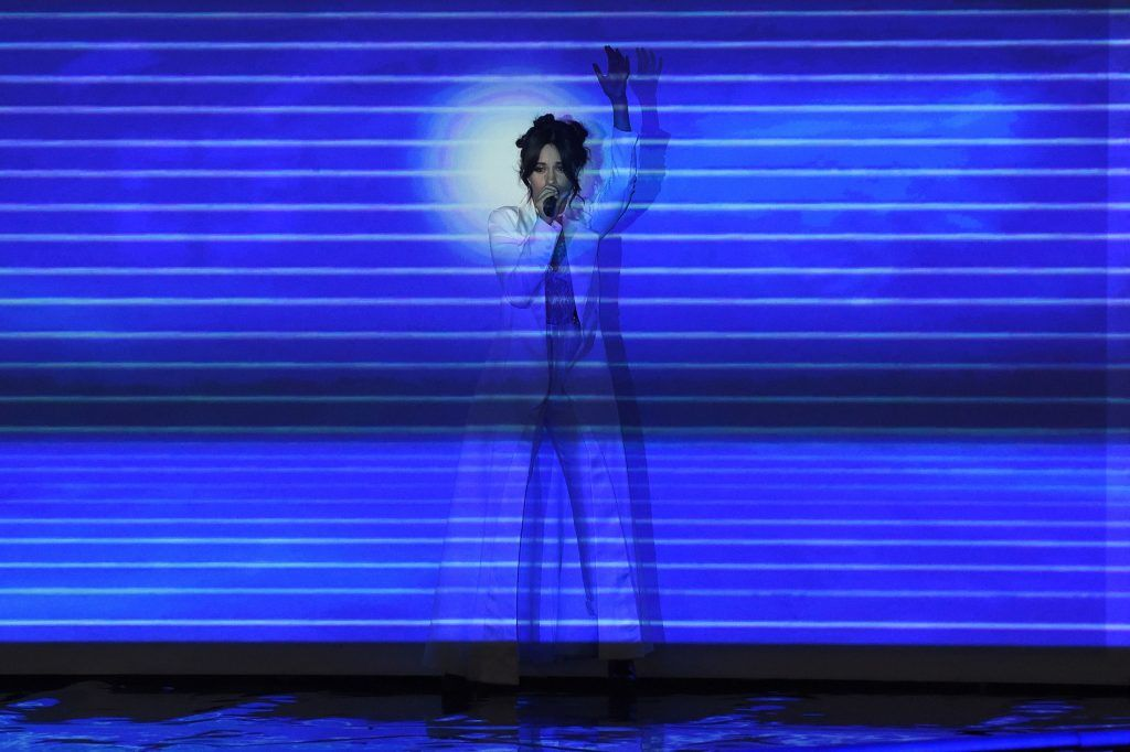 Camila Cabello performs on stage at the 30th Annual Nickelodeon Kids' Choice Awards, March 11, 2017, at the Galen Center on the University of Southern California campus in Los Angeles.  (Photo by VALERIE MACON/AFP/Getty Images)