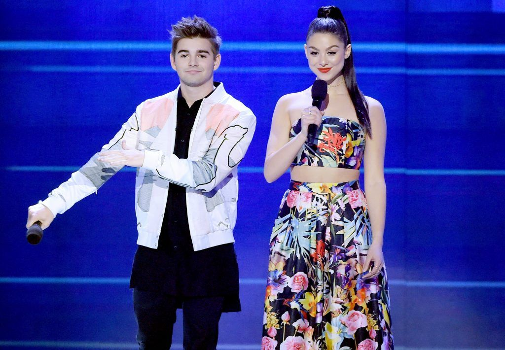Actors Jack Griffo (L) and Kira Kosarin onstage at Nickelodeon's 2017 Kids' Choice Awards at USC Galen Center on March 11, 2017 in Los Angeles, California.  (Photo by Kevin Winter/Getty Images)