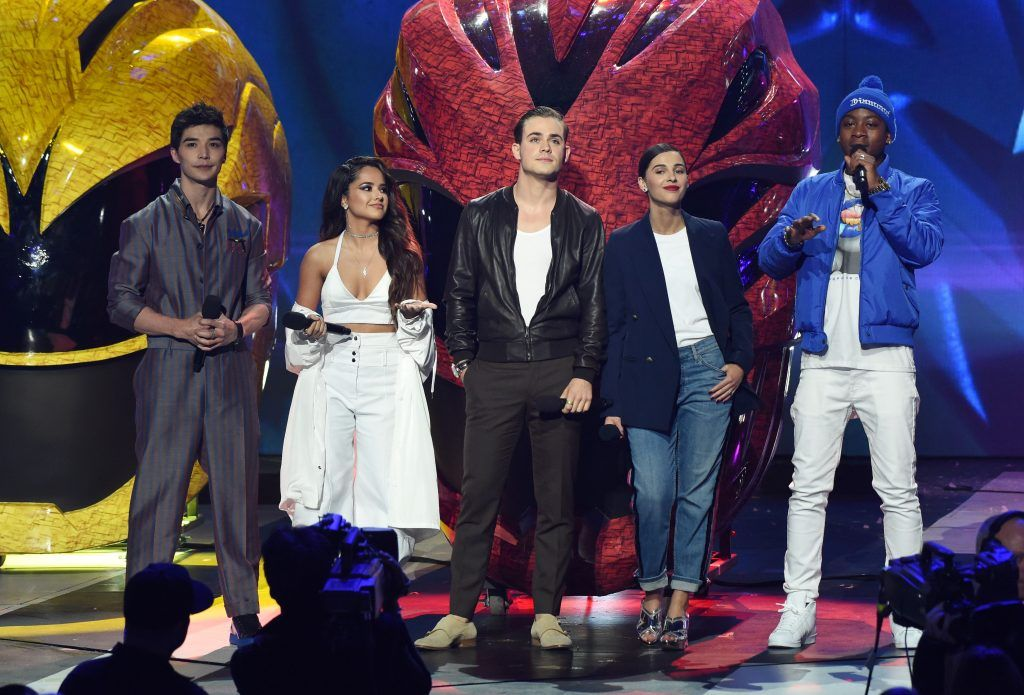 """""""Power Rangers"""" actors (L-R) Ludi Lin, Becky G., Dacre Montgomery, Naomi Scott and RJ Cyler on stage at the 30th Annual Nickelodeon Kids' Choice Awards, March 11, 2017, at the Galen Center on the University of Southern California campus in Los Angeles.   (Photo by VALERIE MACON/AFP/Getty Images)"""