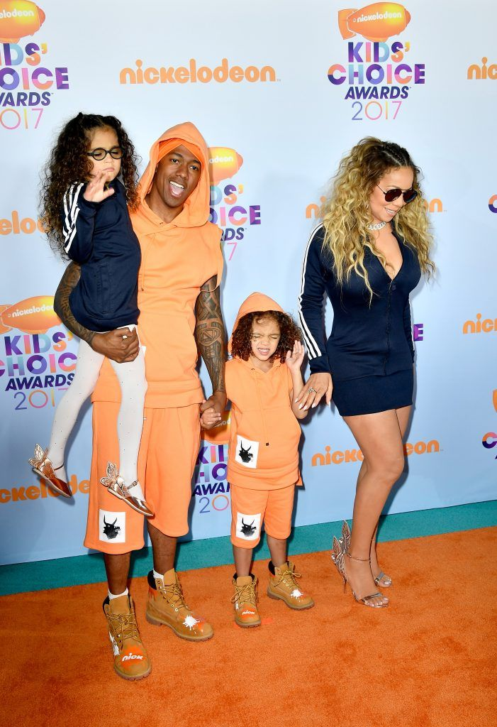 (L-R) Monroe Cannon, TV personality Nick Cannon, Moroccan Scott Cannon and singer Mariah Carey at Nickelodeon's 2017 Kids' Choice Awards at USC Galen Center on March 11, 2017 in Los Angeles, California.  (Photo by Frazer Harrison/Getty Images)