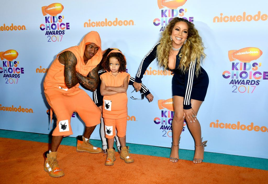 (L-R) TV personality Nick Cannon, Moroccan Scott Cannon, singer Mariah Carey and Monroe Cannon at Nickelodeon's 2017 Kids' Choice Awards at USC Galen Center on March 11, 2017 in Los Angeles, California.  (Photo by Frazer Harrison/Getty Images)