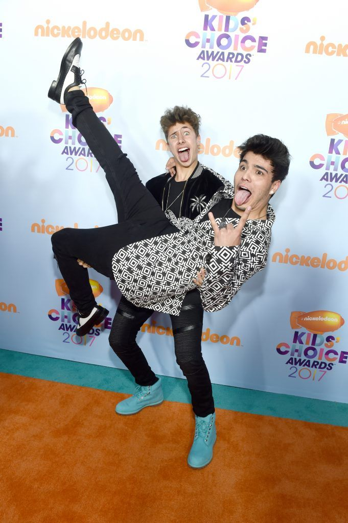 Internet personalities  Juanpa Zurita (L) and Sebastián Villalobos at Nickelodeon's 2017 Kids' Choice Awards at USC Galen Center on March 11, 2017 in Los Angeles, California.  (Photo by Emma McIntyre/Getty Images)
