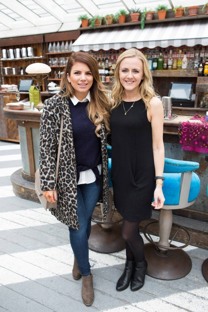 Ciara Maher and Lottie Pearce  pictured at the launch of the Urban Veda natural skincare range in Ireland at House Dublin, Lower Leeson St. Photo by Richie Stokes