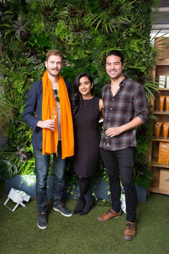 Vincent Myers Tanya Shah and Alexander Nordmark pictured at the launch of the Urban Veda natural skincare range in Ireland at House Dublin, Lower Leeson St. Photo by Richie Stokes